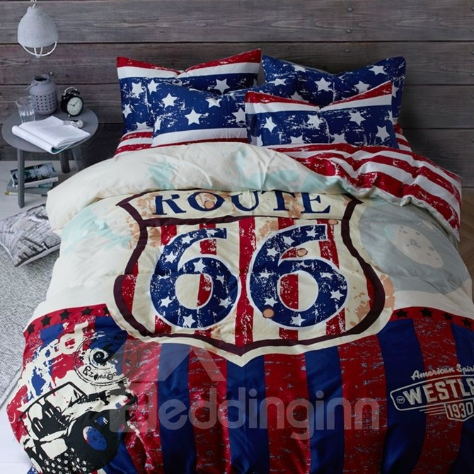 Classic USA Route 66 Print 4-Piece Duvet Cover Sets