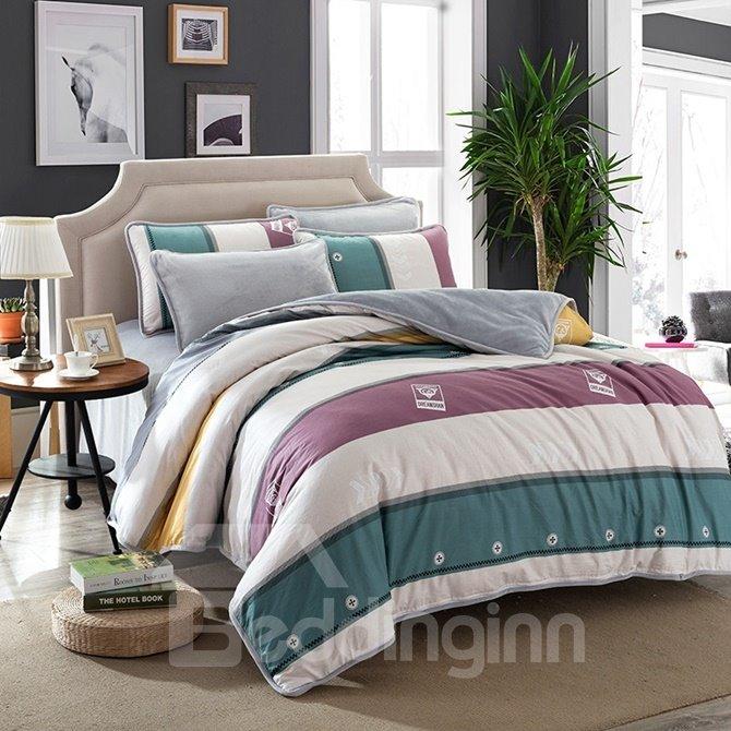 Simple but Fashionable Stripe Print 4-Piece Duvet Cover Sets