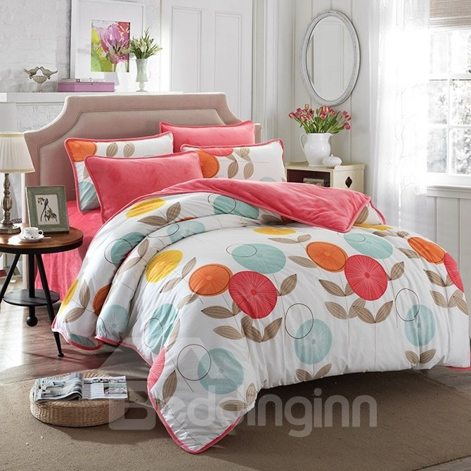 Lovely Colorful Flower Print 4-Piece Duvet Cover Sets