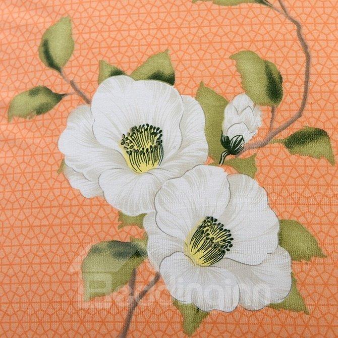 Likable White Blossom Print 4-Piece Duvet Cover Sets