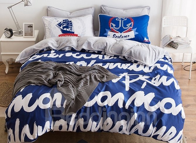Chic Letter Print Blue 4-Piece Duvet Cover Sets 12444228