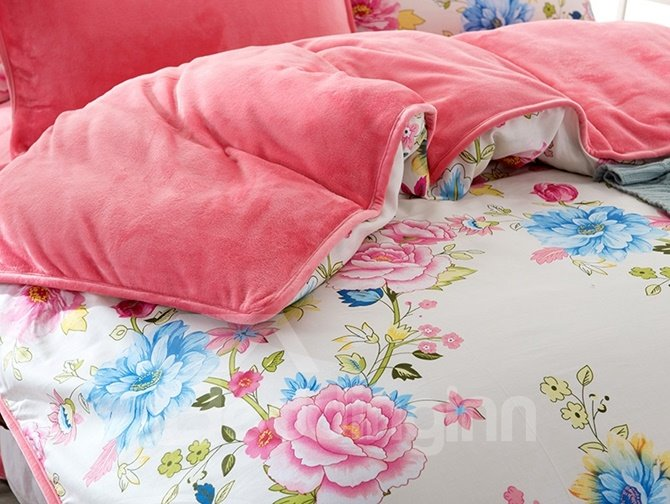 Romantic Pink Peony Print 4-Piece Duvet Cover Sets
