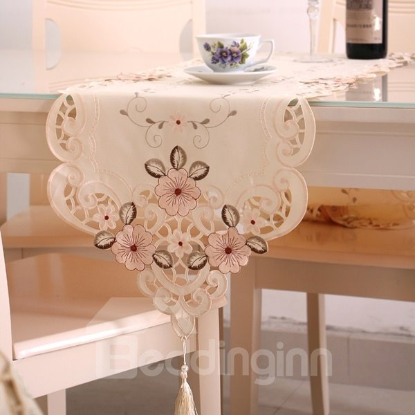 Elegant Rectangle Washable Embroidery Flower Pattern Table Runner