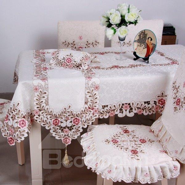 Modern Fashion Rectangle Polyester Embroidery Flower Crochet Table Runner