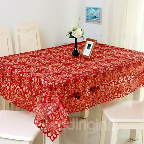 Gorgeous Red Polyester Flower Print Dining Room Decorative Table Runner
