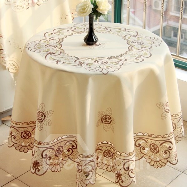 White Round Polyester Brown Embroidery Flowers Pattern Home Decorative Tablecloth