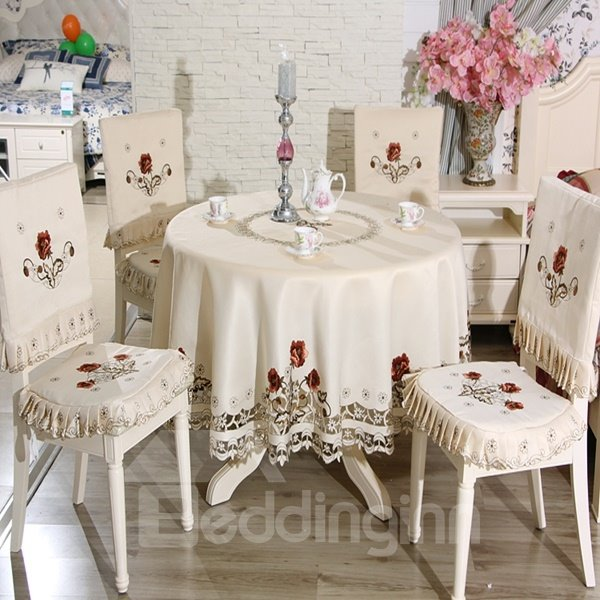 White Round Shape Polyester Embroidery Red Flowers Pattern Dining Tablecloth