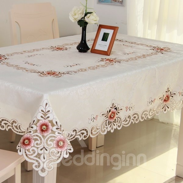 White Simple Style Polyester Embroidery Flower Lace Home Decoration Tablecloth