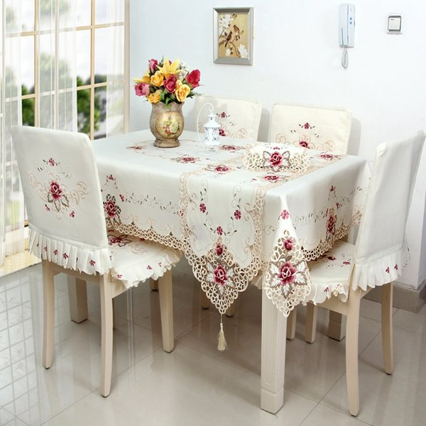 Delicate Rectangle Embroidery Flower Lace Pattern Dining  : 124444666 from www.beddinginn.com size 600 x 600 jpeg 55kB