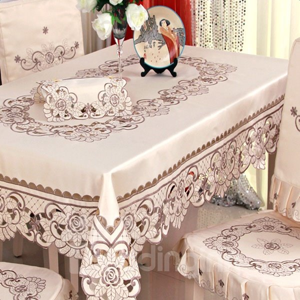 Brown Polyester Embroidery Flower Lace Washable Kitchen Tablecloth