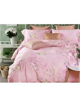 Fabulous Floral Print Pink 4-Piece Duvet Cover Sets