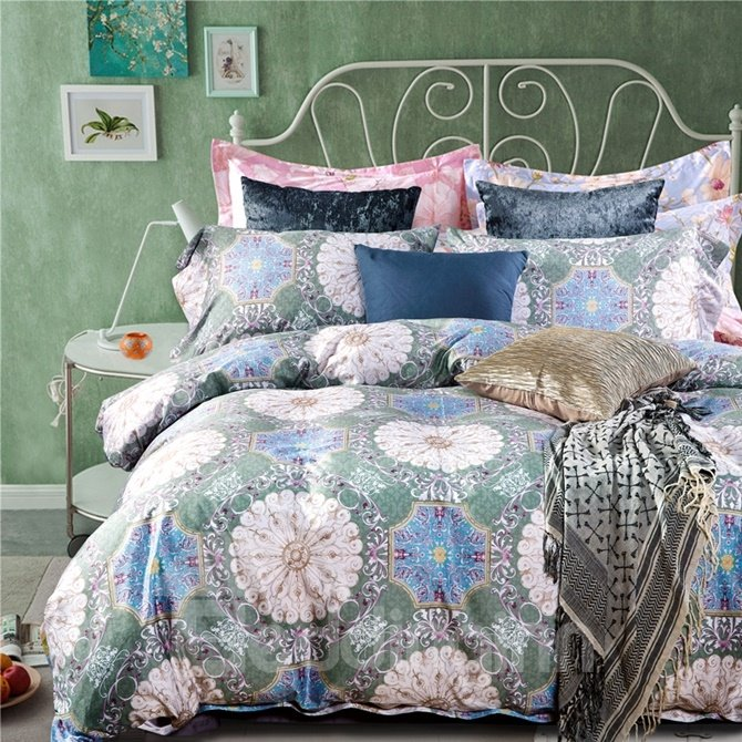 Popular Medallion Print 4-Piece Cotton Duvet Cover Sets