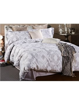 Comfy Ogee Print 4-Piece Cotton Duvet Cover Sets