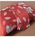 Passionate Red Floral Print Long-staple Cotton 4-Piece Duvet Cover Sets