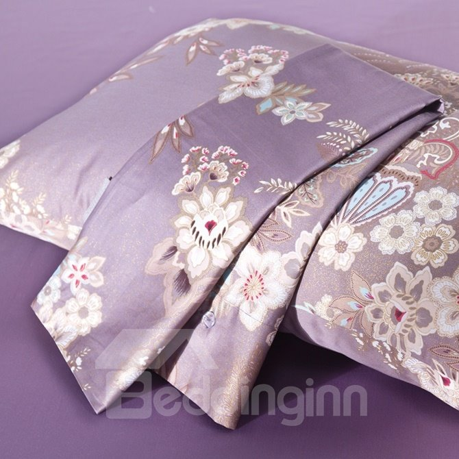 Royal Floral Light Purple Long-staple Cotton 4-Piece Duvet Cover Sets