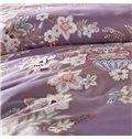 Royal Floral Light Purple Long-staple Cotton 4-Piece Duvet Cover Sets