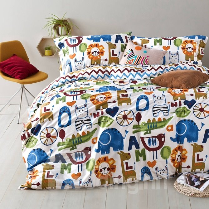 Adorable Cartoon Animal and Letter Print 4-Piece Cotton Duvet Cover Sets