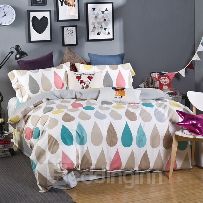 Creative Colorful Raindrop Print 4-Piece Cotton Duvet Cover Sets
