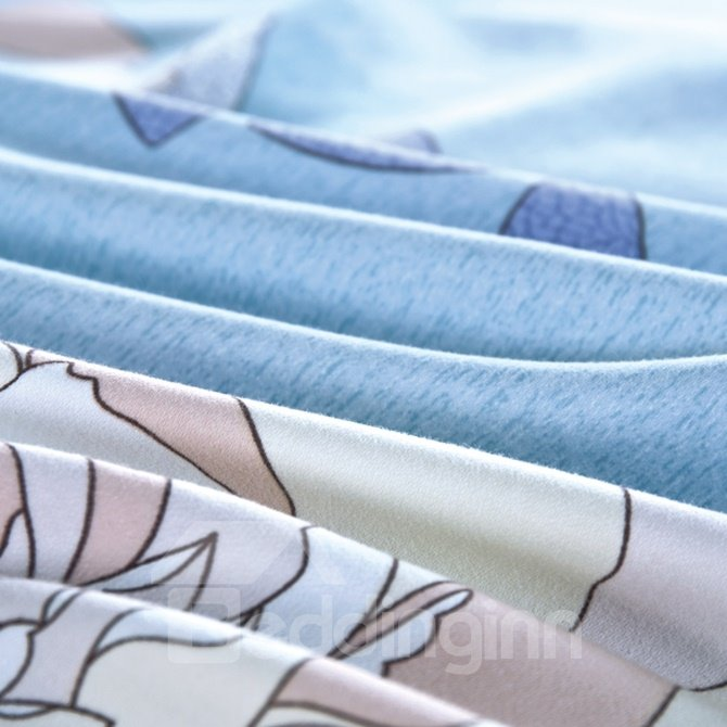 Deluxe White Peony Print Sky Blue 4-Piece Cotton Duvet Cover Sets