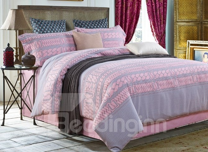 Creative Design Pink and Gray 4-Piece Cotton Duvet Cover Sets