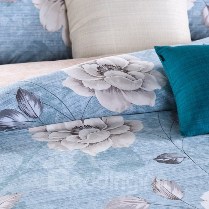 Beautiful Peony Print Blue 4-Piece Cotton Duvet Cover Sets