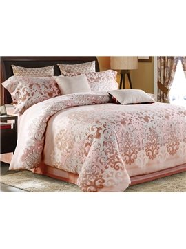 Fashion Pastoral Style Pink 4-Piece Cotton Duvet Cover Sets