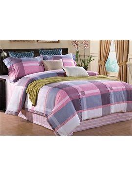 Faddish Plaid Print 4-Piece Cotton Duvet Cover Sets