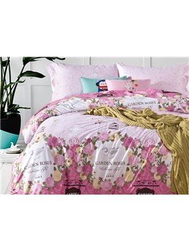 Sweet Garden Rose Print 4-Piece Cotton Duvet Cover Sets