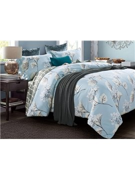 Noble Exquisite Floral Print Blue 4-Piece Cotton Duvet Cover Sets