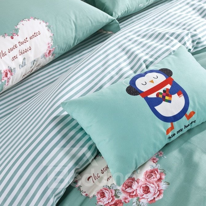 Sweet Heart-shaped Rose Print 4-Piece Duvet Cover Sets