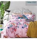 Pastoral Style Floral Print Pink 4-Piece Cotton Duvet Cover Sets
