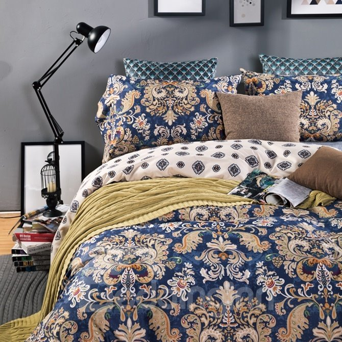 American Style Jacobean Print 4-Piece Cotton Duvet Cover Sets