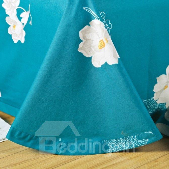 Fresh White Magnolia Print Blue 4-Piece Cotton Duvet Cover Sets
