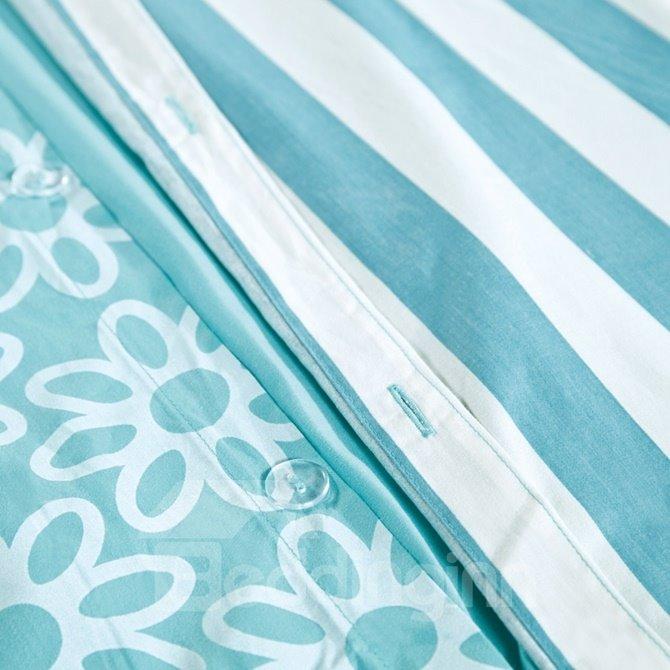 Simple Letter Print Sky Blue 4-Piece Cotton Duvet Cover Sets