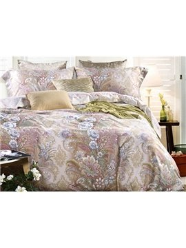 Magnificent Jacobean Print 4-Piece Cotton Duvet Cover Sets
