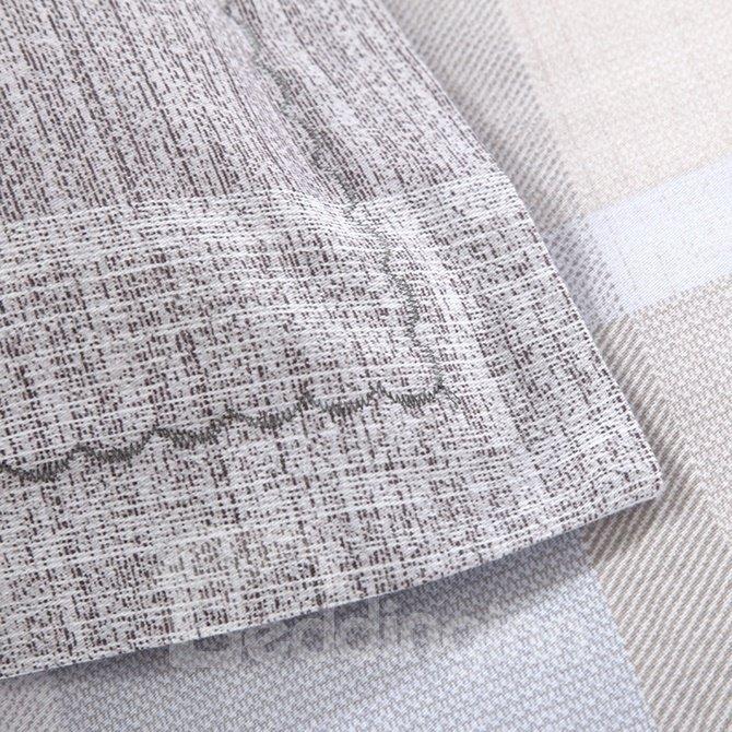 Concise Color Block Print 4-Piece Cotton Duvet Cover Sets