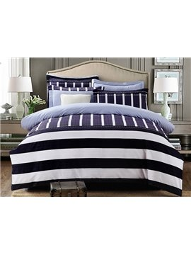 Concise Stripe Print 100% Cotton 4-Piece Duvet Cover Sets