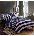 Concise Stripe Print 100% Cotton 4-Piece Duvet Cover Sets