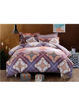 Worldly Pattern 100% Cotton 4-Piece Duvet Cover Sets