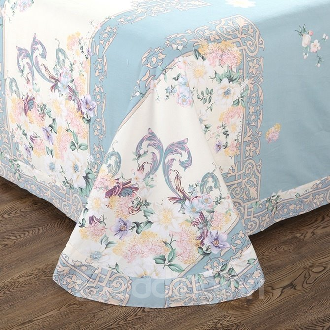 Fresh Peony and Lilac Print 4-Piece Cotton Duvet Cover Sets