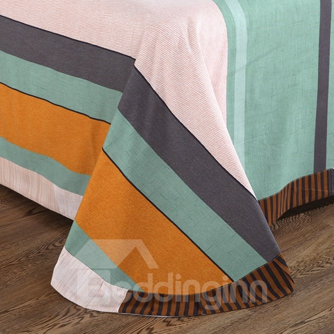 Simple Color Block Print 4-Piece Cotton Duvet Cover Sets