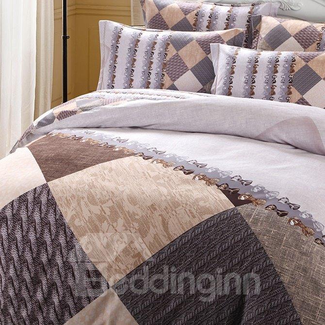 Neutral Style Diamond Print 4-Piece Cotton Duvet Cover Sets
