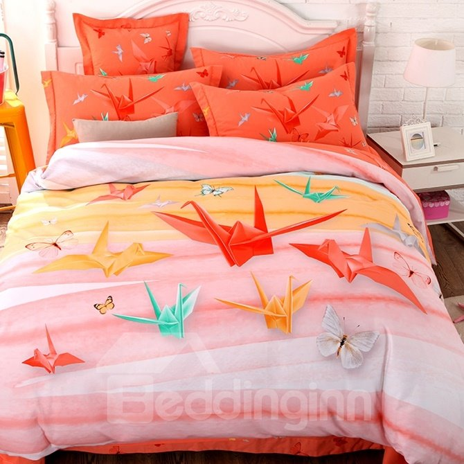 Fancy Paper Crane Print 4-Piece Cotton Duvet Cover Sets