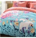 Lovely Blossom and Animal Print 4-Piece Cotton Duvet Cover Sets
