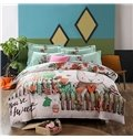 Lovely Cartoon Rabbit Print 4-Piece Cotton Duvet Cover Sets