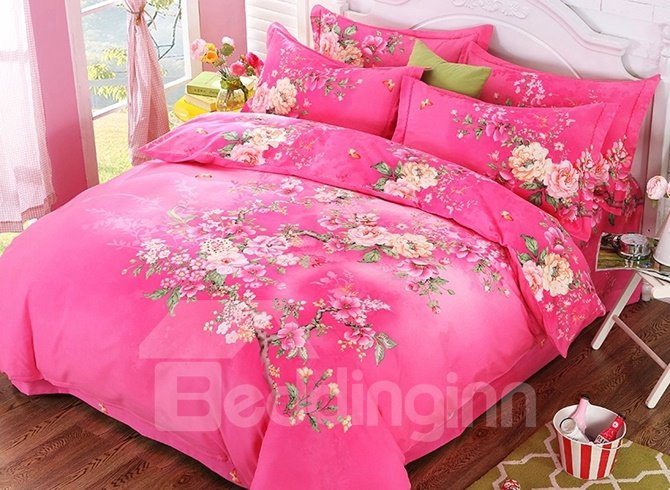 Beautiful Peach Blossom Print Pink 4-Piece Cotton Duvet Cover Sets 12445716