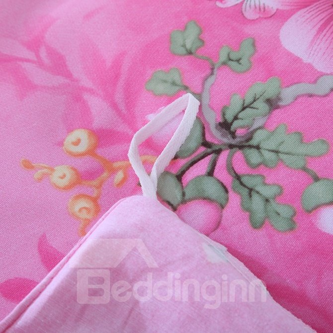 Beautiful Peach Blossom Print Pink 4-Piece Cotton Duvet Cover Sets