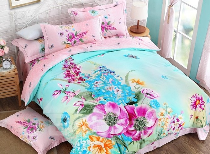 Wonderful Brilliant Blossoms Print 4-Piece Cotton Duvet Cover Sets 12445720