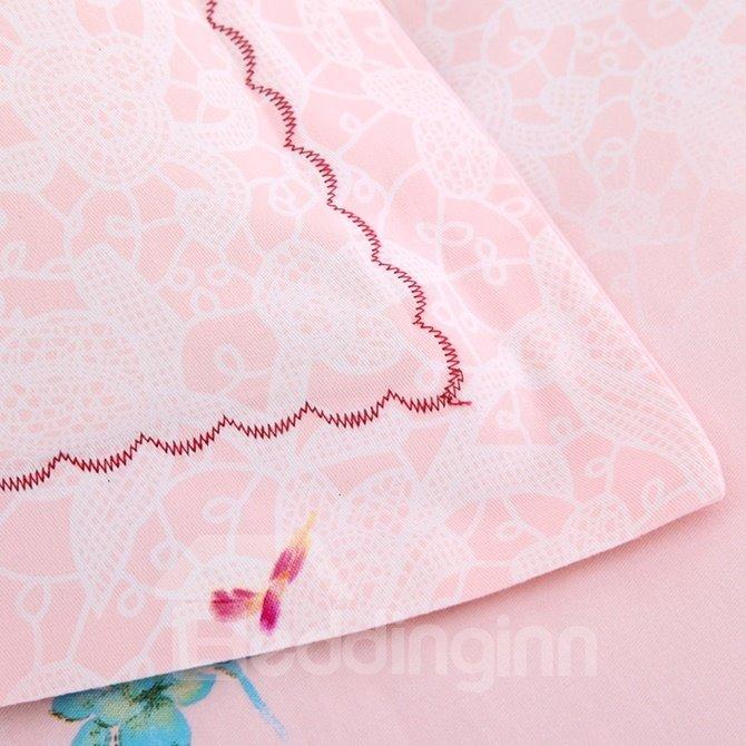 Wonderful Brilliant Blossoms Print 4-Piece Cotton Duvet Cover Sets