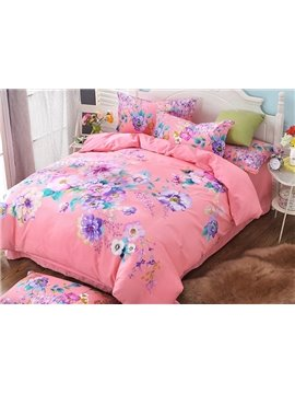 Brilliant Multi Floral Printed Pink 4-Piece Cotton Duvet Cover Sets